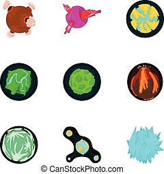 Galaxy planet icons set, cartoon style