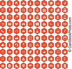 100 mother and child icons hexagon orange - 100 mother and...