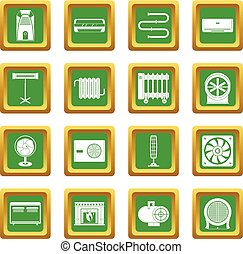 Heating cooling air icons set green - Heating cooling air...