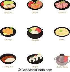 Sushi icons set, cartoon style - Sushi icons set. Cartoon...