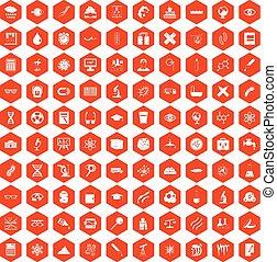100 microscope icons hexagon orange - 100 microscope icons...