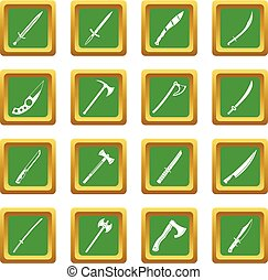 Steel arms symbols icons set green