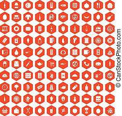 100 lunch icons hexagon orange - 100 lunch icons set in...