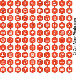 100 mobile icons hexagon orange - 100 mobile icons set in...