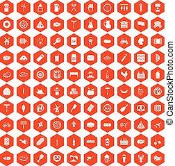100 meat icons hexagon orange - 100 meat icons set in orange...
