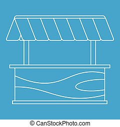 Street stall with awning icon, outline style - Street stall...