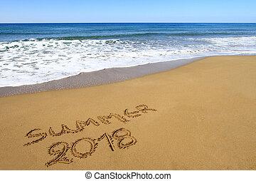 """""""Summer 2018"""" written on sandy beach"""