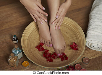 Relaxing foot treatment at Spa