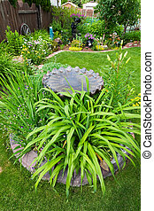 Bird Bath Garden Feature - A gorgeous backyard garden,...