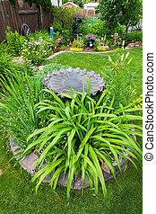 Bird Bath Garden Feature - A gorgeous backyard garden,...