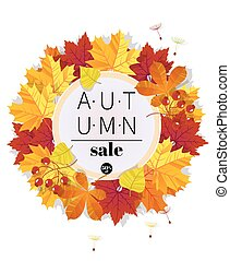 Autumn Sale. 3D stylized multicolored flowers with leaves....
