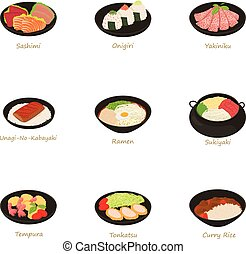 Sushi menu icons set, cartoon style - Sushi menu icons set....