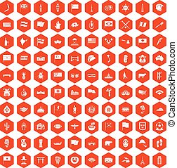 100 national flag icons hexagon orange - 100 national flag...