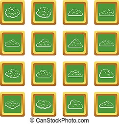 Clouds icons set green