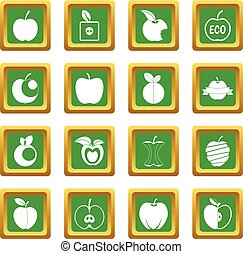 Apple icons set green - Apple icons set in green color...