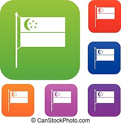 Flag of Singapore set collection