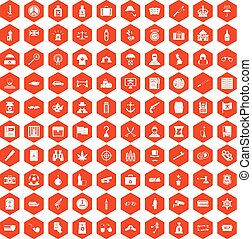100 offence icons hexagon orange - 100 offence icons set in...
