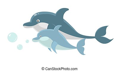 Big and small dolphins swim together isolated illustration -...