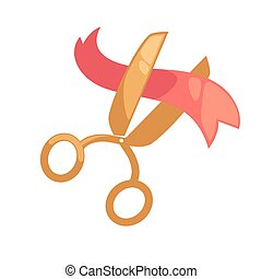 Big golden scissors cuts small red ribbon isolated...