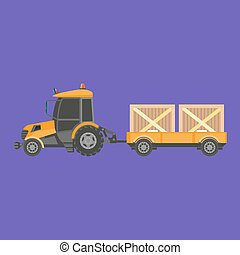 Tractor carrying boxes - Vector illustration of tractor...