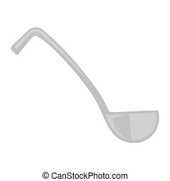Simple metal ladle - Vector illustration of simple gray...