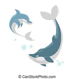 Cute ocaenic whale and sea dolphin isolated illustration -...