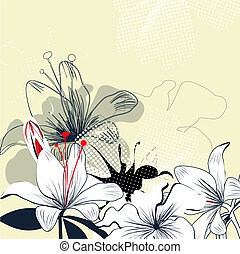 Background with white lily flowers