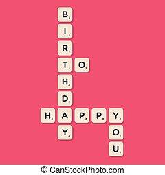 Happy Birthday message written with tiles illustration