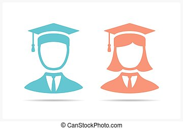 Students Icons - Students icons in graduation cap, man and...