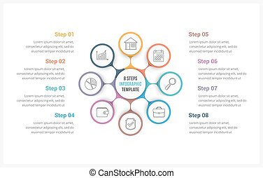Circle Infographics Template with Eight Elements - Circle...