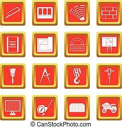 Construction icons set red - Construction icons set in red...