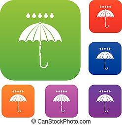 Umbrella and rain drops set collection - Umbrella and rain...