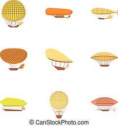 Dirigible icons set, cartoon style - Dirigible icons set....