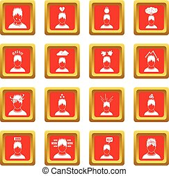 Stress icons set red