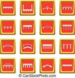 Bridge set icons set red