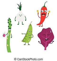 Set of funny characters from vegetables 3.