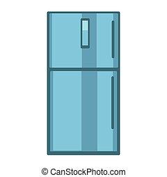 Blue colored fridge - Vector illustration blue colored...
