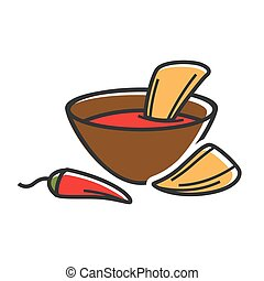 Hot dip with nachos - Vector illustration of bowl with hot...