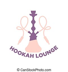 Purple and pink hookah lounge logo - Vector illustration of...