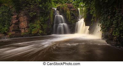 Penllergare waterfalls in Swansea - Waterfall in full flow...