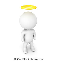 3D Character with a gold halo above his head. Isolated on...