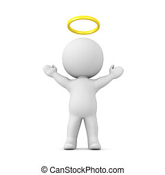 3D Character with a gold halo above his head with his arms...