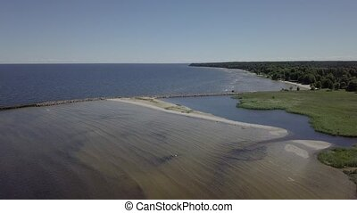 Harbor Roja Latvia Aerial view of countryside drone top view...
