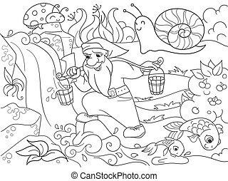 Childrens coloring. Forest, a magic dwarf is picking up...