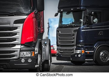 Euro Trucks Convoy Concept. Truck Driving and...