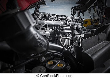 Semi Truck Tractor Engine Servicing. Powerful Truck Engine...