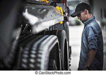 Truck Driver Load Check. Caucasian Semi Truck Driver...