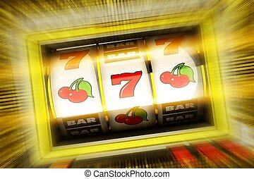 Lucky Casino Slot Spin 3D Rendered Illustration Concept....