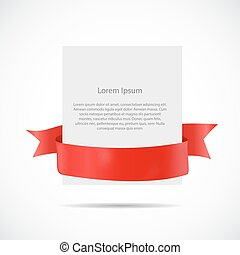 White Blank Card Template with Ribbon. Vector Illustration