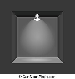 Exhibition Concept, Black Empty Box, Frame with Illumination. Template for Your Content. 3d Vector Illustration